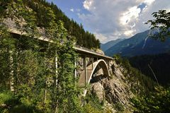 Bridge in the Tyrolean Alps Royalty Free Stock Image