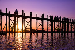 Bridge U-Bein teak bridge Stock Photography