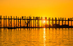 Bridge U-Bein teak bridge is the longest Stock Photos