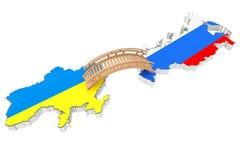 Bridge between Ukraine and Russia Stock Images