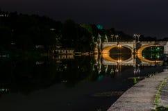 Bridge of Umberto I Turin, Italy by night Stock Photo