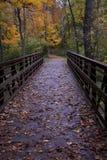 A Bridge Under Autumn Leaves. A wooden bridge in North Ridgeville, Ohio set in Autumn under multi-colored leaves stock photo