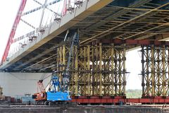 Bridge under construction stock photos