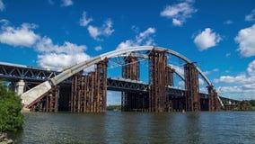 Bridge Under Construction. Clouds timelapse stock video footage