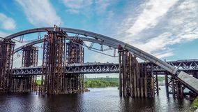 Bridge under construction in Kiev stock video footage