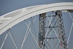 Bridge under construction over Danube river Stock Photos