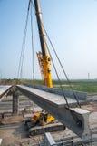 Bridge under construction in Tyumen. Russia Stock Photo