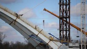 Bridge under construction. VIGEVANO, ITALY - MARCH 2018; Bridge under construction on the Ticino river stock footage
