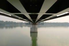 Bridge under construction. Vintage steel railway on bridge Royalty Free Stock Photos