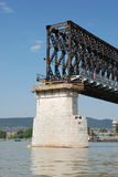 Bridge under construction. Vintage steel railway on bridge Stock Photography