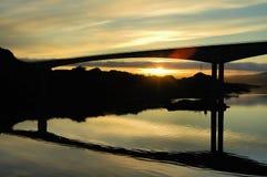 Bridge under the midnight sun Royalty Free Stock Image