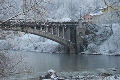 Bridge under the snow in Belluno Royalty Free Stock Images