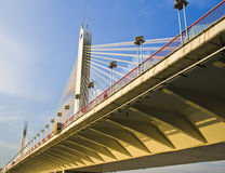 A bridge is under the sunset  in Guangzhou. The bridge with beautiful background ,blue sky,under the sunset Royalty Free Stock Image