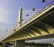 A bridge is under the sunset  in Guangzhou. Royalty Free Stock Images