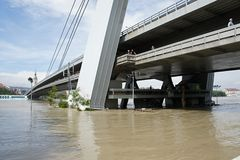 Bridge under water - extraordinary flood, on Danube in Bratislava Royalty Free Stock Photography