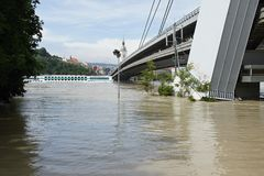 Bridge under water - extraordinary flood, on Danube in Bratislava Stock Photos
