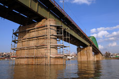 Bridge under work. Close-up of bridge and pillars, old bridge in Belgrade, Serbia, Balkan, river Sava under bridge Stock Images