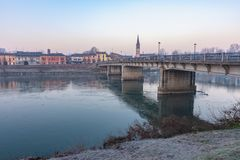 A bridge that connects two parts of the city. A bridge that unites two parts of the city and despite the passing years remains there to face floods and bad royalty free stock images