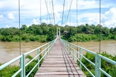 Suspension bridge used to cross the river to travel to the other royalty free stock images