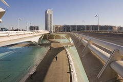 Bridge in Valencia, Spain. Person running in a park in Valencia Stock Photography