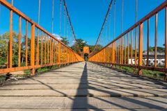 On the bridge in Vang Vieng Royalty Free Stock Photo