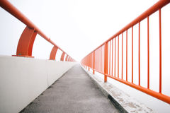 Bridge vanishing point in fog Royalty Free Stock Photography