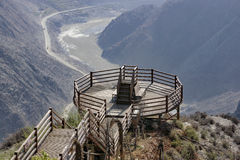 Bridge vantage point of scenic Omega Bend of Yangtze River Yunan Royalty Free Stock Photography
