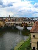 bridge and Vasari Corridor in Florence Italy from Uffizi Museum Stock Photography