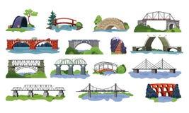Bridge vector bridged urban crossover architecture and bridge-construction for transportation illustration set of river Royalty Free Illustration
