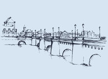 Bridge. Vector drawing. Long aged bridgework, Ile de la Cite, transport road and foot traffic way. Freehand outline ink hand drawn backdrop sketchy in art doodle Royalty Free Stock Photography