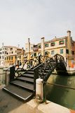 The bridge in Venice. The bridge with intricate forged handrails in Venice stock photos