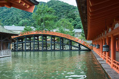 Bridge and vermilion halls at itsukushima Shinto Shrine. Hiroshima, Japan - September 20, 2016: Bridge and vermilion halls at itsukushima Shinto Shrine on Stock Image