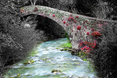 Bridge in very small medieval italian village Stock Images