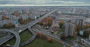 Bridge Viaduct road traffic machine Drone time-lapse building. Riga city drone-lapse bridge flight with cars buidings stock footage