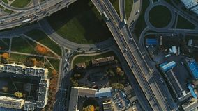 Bridge viaduct road traffic machine drone time-lapse. Riga city drone-lapse bridge flight with cars stock video