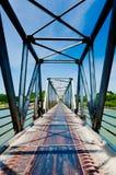 Bridge view. Metal Bridge over a large river Royalty Free Stock Image