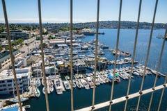 Bridge view of boats moored on Lake Union Seattle Washington Stock Photo