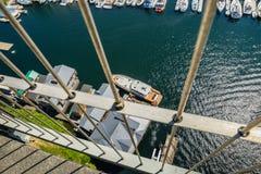 Bridge view of boats moored on Lake Union Seattle Washington Royalty Free Stock Photography