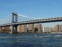Bridge. The view from the Brooklyn bridge park Stock Images