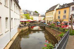Bridge view in the centre of Saarburg, Germany, Europe stock photo