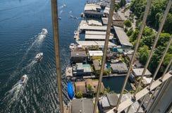 Bridge view of house boats on Lake Union Seattle Washington Royalty Free Stock Photo