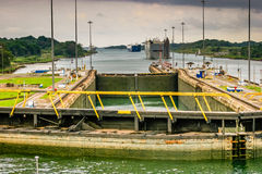 Bridge view of a lock in the Panama Canal. View from a ships bridge locking through the Panama Canal stock photos
