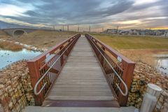 Bridge with view of scenic Daybreak community royalty free stock photo