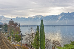 Bridge View to Chillon Castle on Lake Geneva in Switzerland Royalty Free Stock Photography