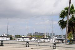 Bridge view of waterfront properties & yachts, Florida Royalty Free Stock Photography
