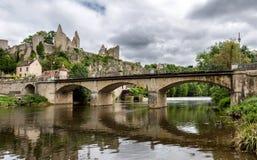 Bridge into the village Angles-sur-l'Anglin Stock Photography