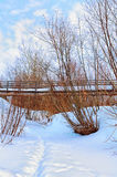 Bridge in the village. Winter is better under the bridge Royalty Free Stock Photography