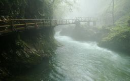 Bridge in the Vintgar Gorge - Slovenia Stock Photo