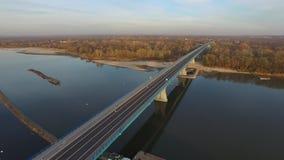 Bridge over the River Vistula, aerial view, 09 2016, Poland. Bridge, Vistula River, bridge crossing, road infrastructure, modern bridge, Solec nad Wisłą stock video