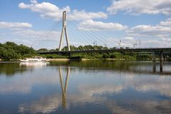 Bridge on vistula river in warsaw Stock Photo